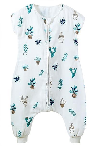 FEOYA Saco de Dormir Bebé Verano sin Manga Pies Separados Sleepingbag Estampados Algodón Transpirable 70-90CM: Amazon.es: Ropa y accesorios