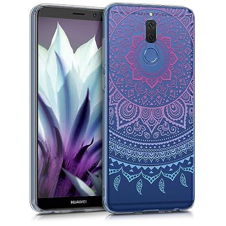 kwmobile Funda para Huawei Mate 10 Lite - Carcasa de [TPU] para móvil y diseño de Sol hindú en [Azul/Rosa Fucsia/Transparente]