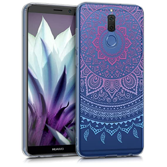 detailed look 4f316 26e1e kwmobile TPU Silicone Case for Huawei Mate 10 Lite - Crystal Clear  Smartphone Back Case Protective Cover - Blue/Dark Pink/Transparent
