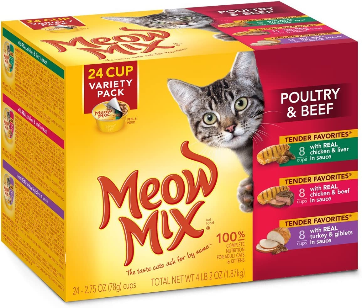 Meow Mix Tender Favorites Poultry And Beef Variety Pack Wet Cat Food, 24 Count