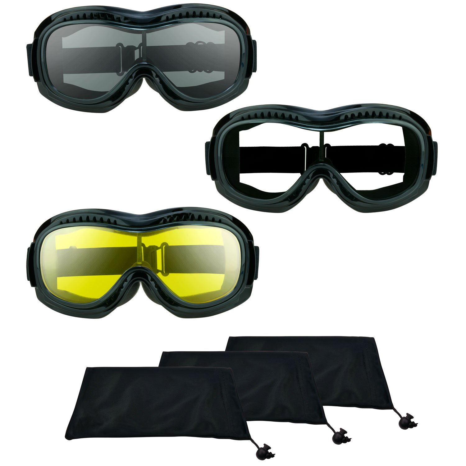 Motorcycle Riding Over glasses Goggles with Polycarbonate Smoke, Clear or Yellow Lens for Men and Women with XXLarge Microfiber Cleaning Case Bomber Fit Over Goggles (smoke + clear + yellow Combo)