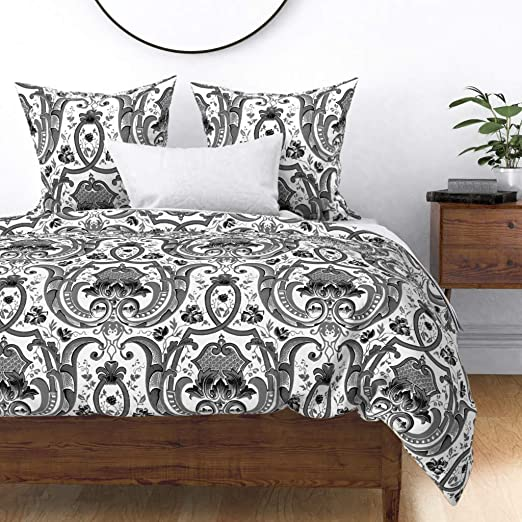 Amazon.com: Roostery Duvet Cover, Damask Victorian Floral Trellis Jacquard  Brocade Chic Black and Print, 100% Cotton Sateen Duvet Cover, Twin: Home &  Kitchen