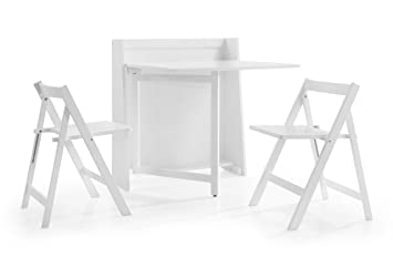 julian bowen helsinki compact white dining set with 2 folding chairs