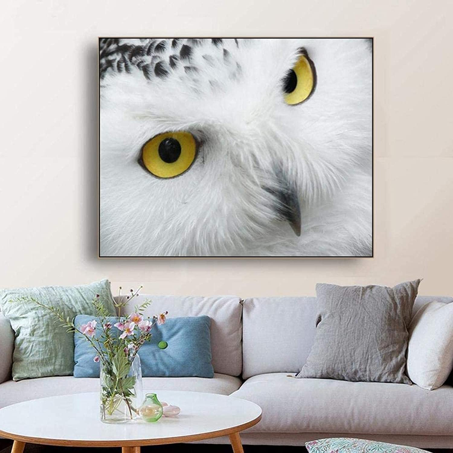 Canvas picture Snowy Owl Animals Decor Wall Art Print Canvas Painting Decorative Picture for Living Room Bedroom Home Decor27.6x35.4 in(70x90cm) no frame