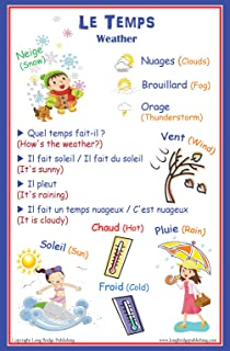 Amazon french language poster greetings and common phrases bilingual school poster weather words in french and english m4hsunfo