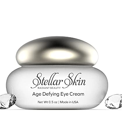 Anti Aging Eye Cream with Hyaluronic Acid from Stellar Skin, Anti Wrinkle Moisturizer, Reduce Fine Lines & Wrinkles Around Your Eyes, Skin Care Treats Dark Circles & Bags Under Eyes, Made in USA