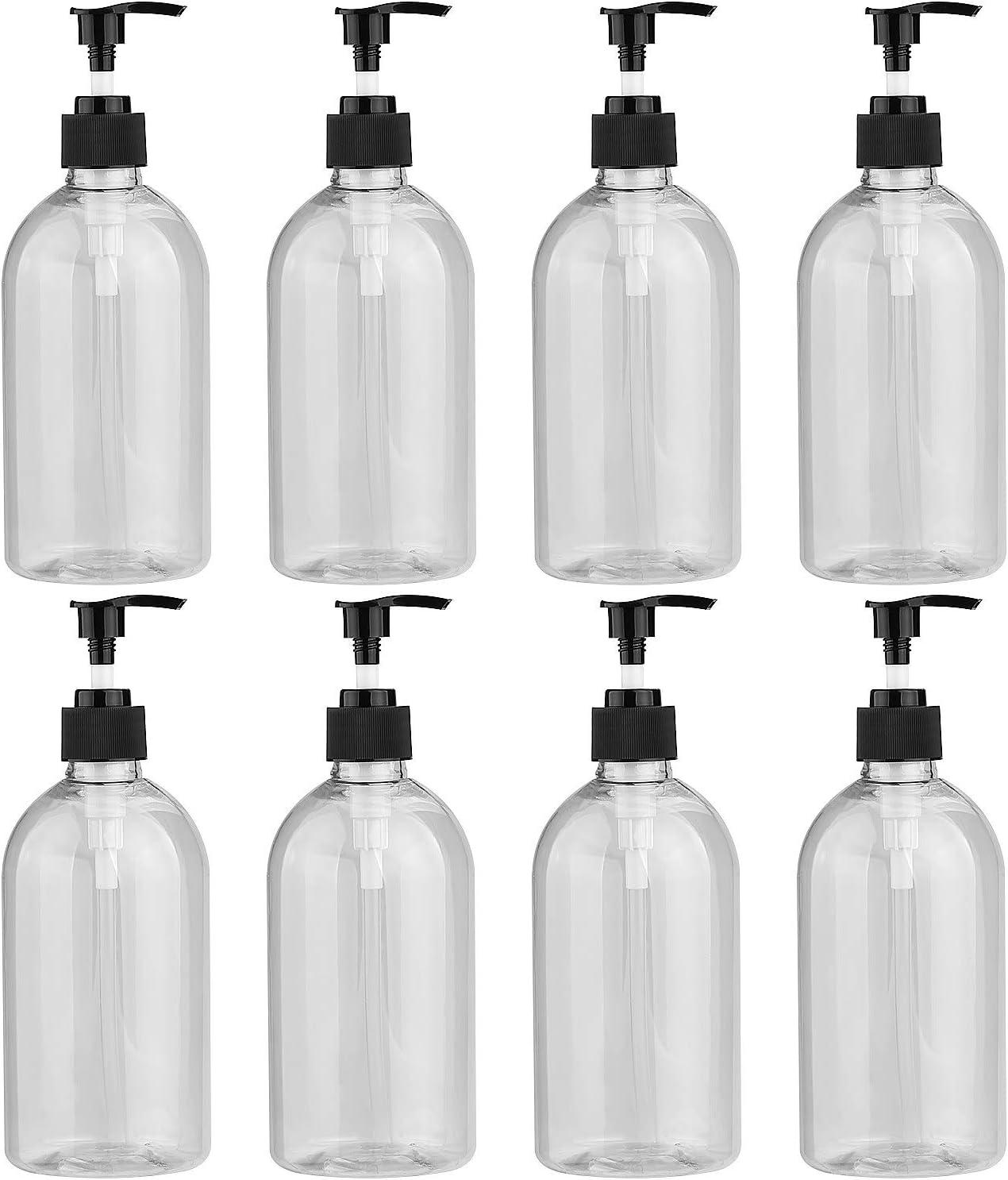 AConnet 8 Pack Plastic Pump Bottle Dispenser, 17oz / 500ml Clear Hand Soap Dispenser Bottle with Pump, Liquid Lotion Essential Oil Shampoos Dispensing Bottles, BPA-Free PET Refillable Containers