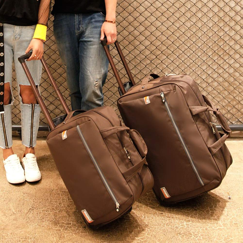 Travel Bags Leisure Dual use Baggage Student Trolley Case Luggage Suitcases Carry On Hand Luggage Durable Hold Tingting Color : Brown, Size : S