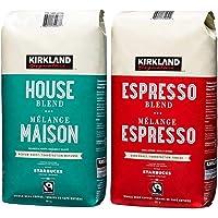 Kirkland Signature House Blend Coffee Beans (907 Grams) and Espresso Coffee Beans (907 Grams)