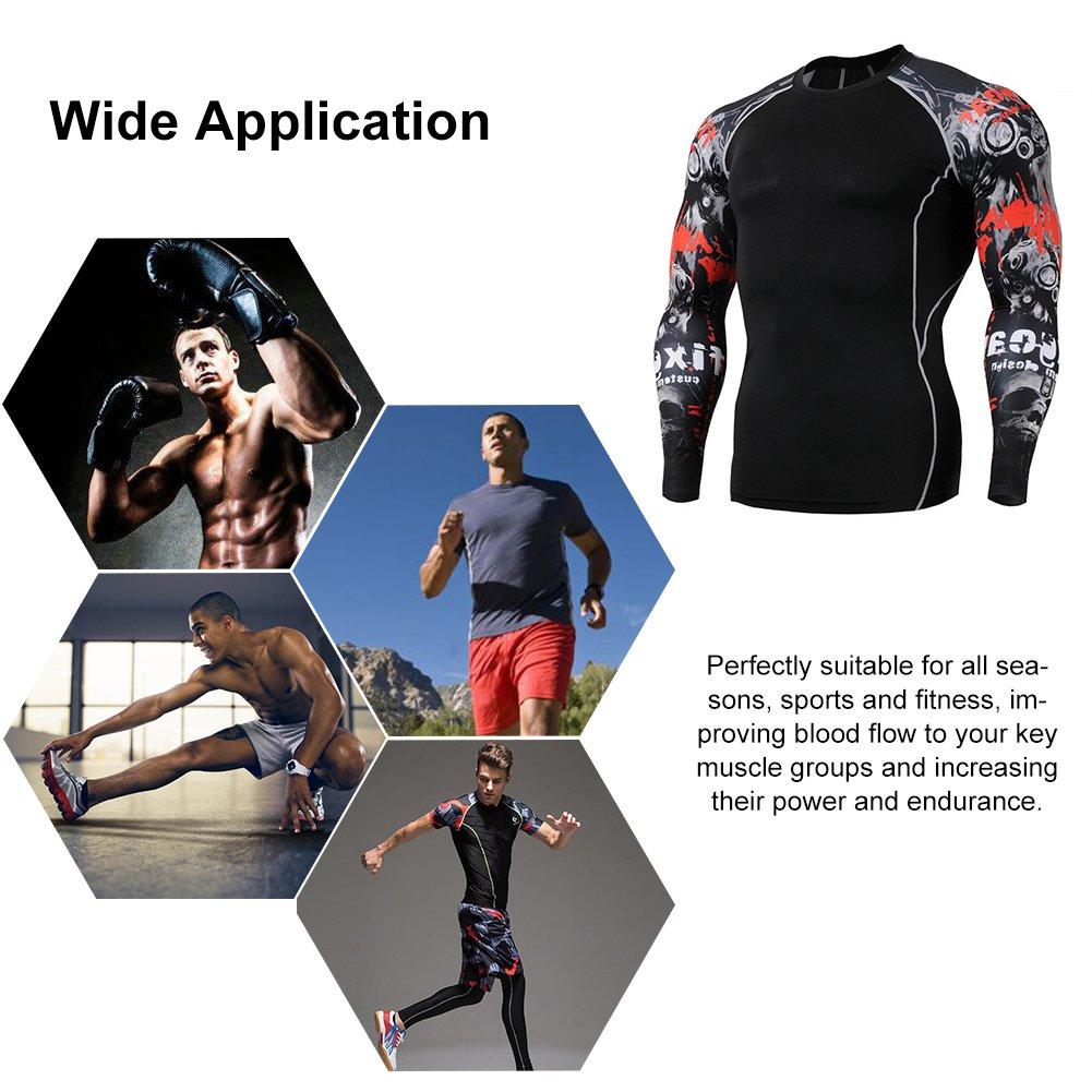 Fitibest Camiseta de Compresiòn Hombre Manga Larga para Running,Fitness