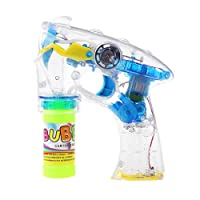 TOYMYTOY Bubble Gun Blower Machine Blaster Electric Bubble Shooter Gun with Flashing Lights and Music (Yellow)