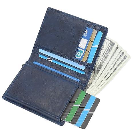 Cartera Tarjeta de Crédito, Cartera de Piel auténtica,Bloqueo RFID, Cartera de Aleación