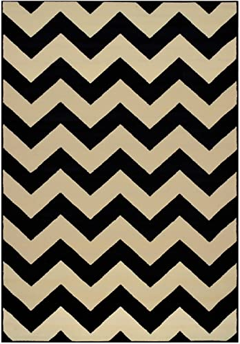 Zigzag Chevron Black Tan or Petrol Blue Tan or Grey Tan Area Rug Contemporary Modern Black