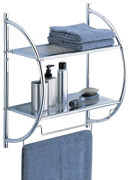 Amazon.com: Organize It All Wall Mount 2 Tier Chrome Bathroom Shelf ...