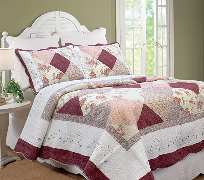Cozy Line Home Fashions Floral Real Patchwork Burgundy Red Coral Pink Scalloped Edge Country 100% Cotton Quilt Bedding Set, Reversible Coverlet Bedspread for Women (Georgia, King - 3 Piece)