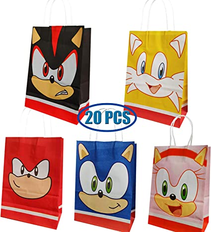 Amazon Com Sonic The Hedgehog Birthday Party Supplies 20 Pcs Sonic The Hedgehog Party Favor Goodie Gift Bags Including 5 Patterns Double Sided Printed Ideal For Kid Birthday Party Decorations Toys Games
