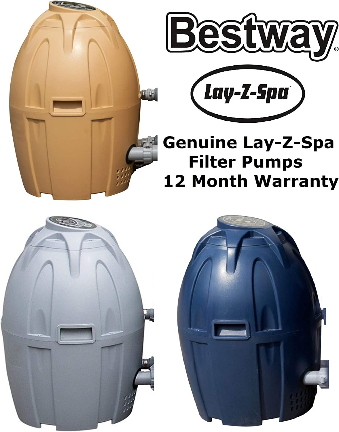 Grey E-Stores Direct Bestway Lay-Z-Spa Airjet Filter and Heating Unit Pump Blue and Beige Grey