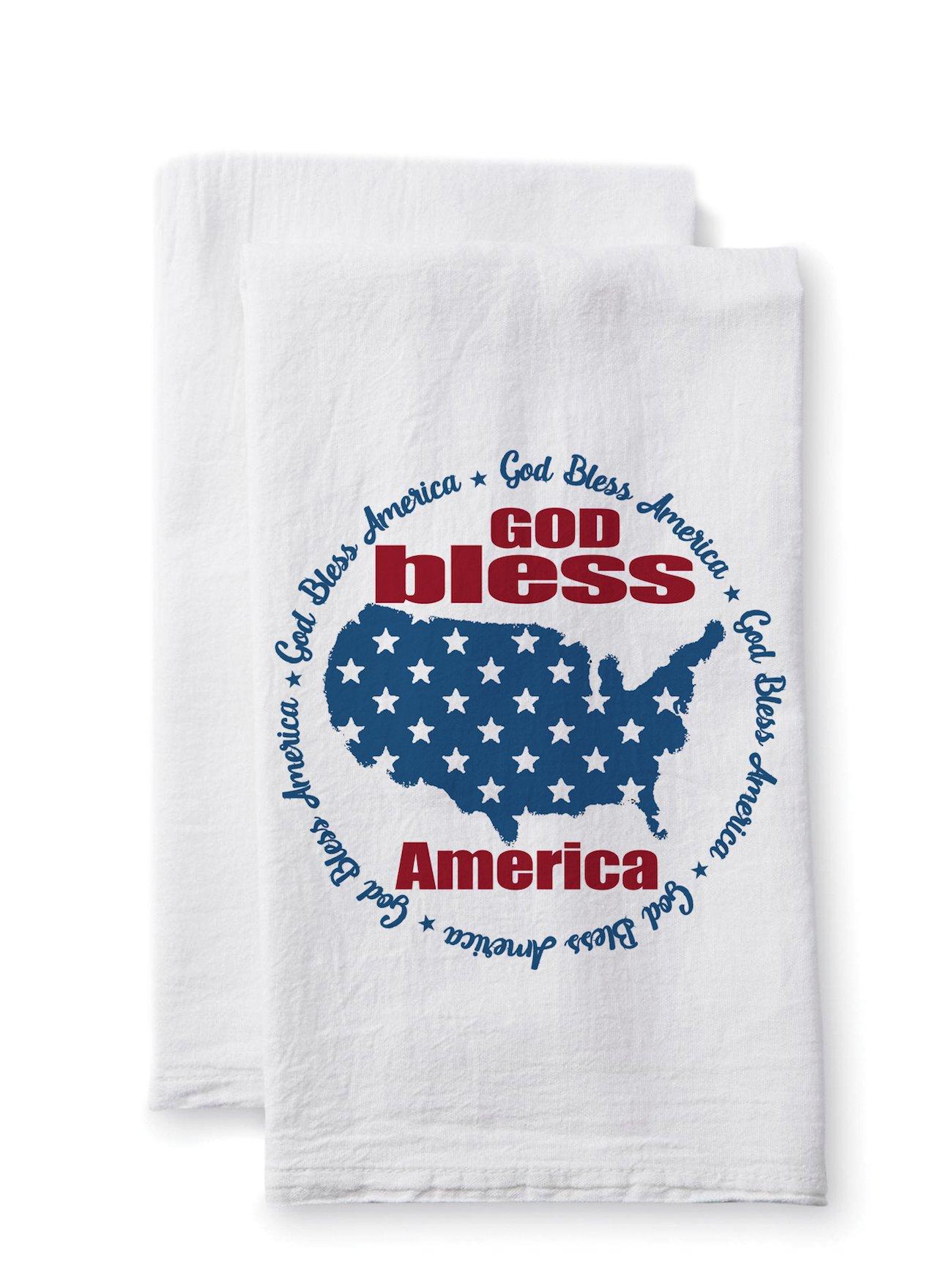 Sullivans Uplifting Linens Towels God Bless America, 28 x 28 Inches, White (ULTL120) 2-Pack