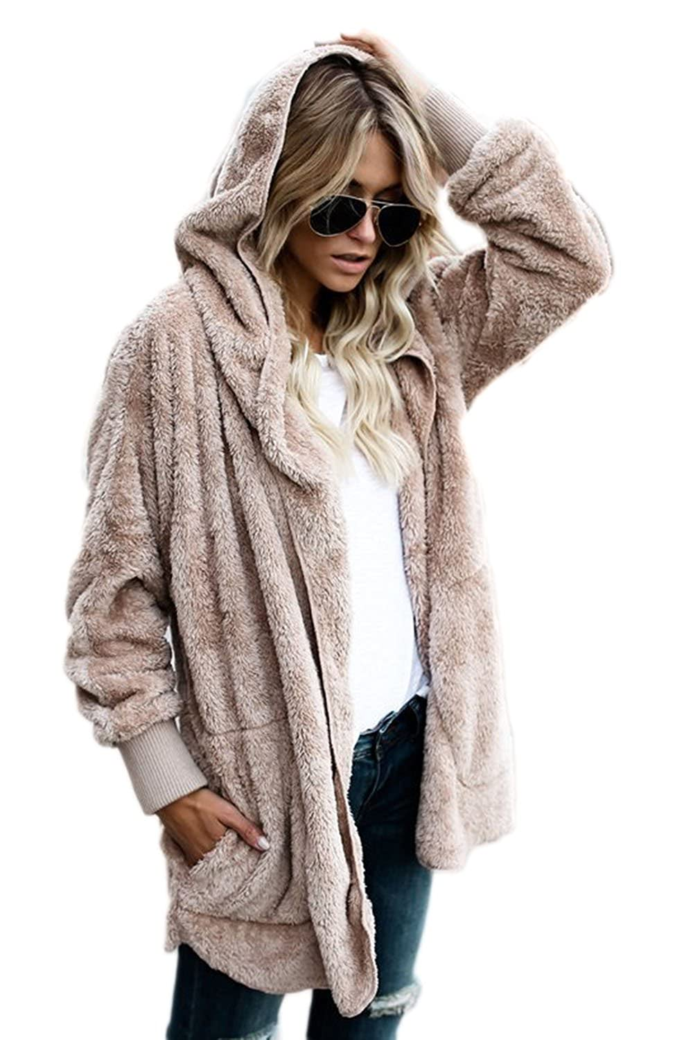 Jumojufol Women's Hoodie Thick Open Front Winter Fuzzy Jacket Cardigan Coat CATNFME8