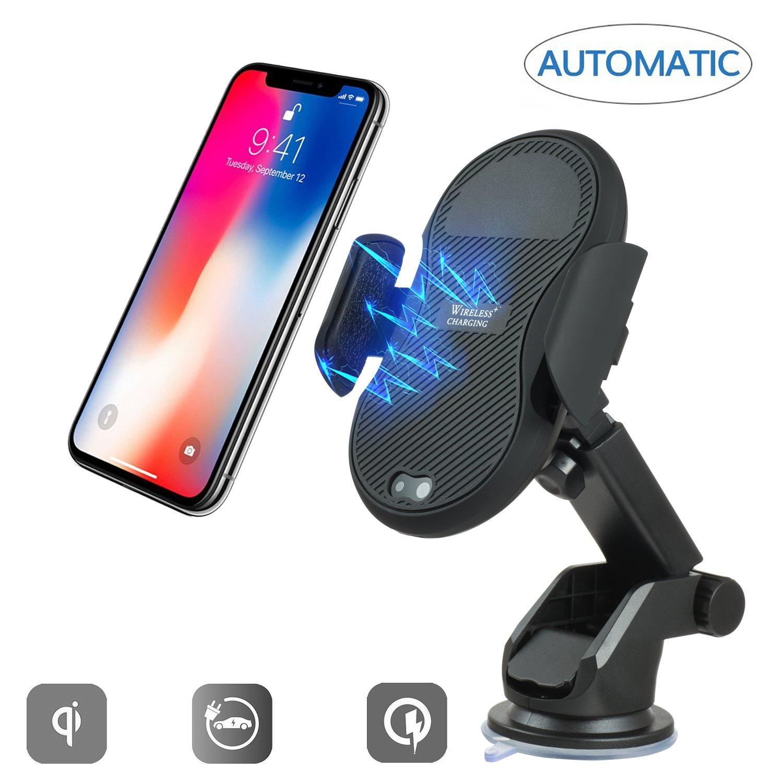 ワイヤレス車自動Qiワイヤレス充電器、apuppyダッシュボードカーマウント、iPhoneの充電にX 8 /8 Plus、SAMSUNG GALAXY s9 /s9 Plus、s8、s7 /s7 Edge, Note 8とすべてのQi Enabledデバイス ブラック B07D25Z8V8  ブラック -