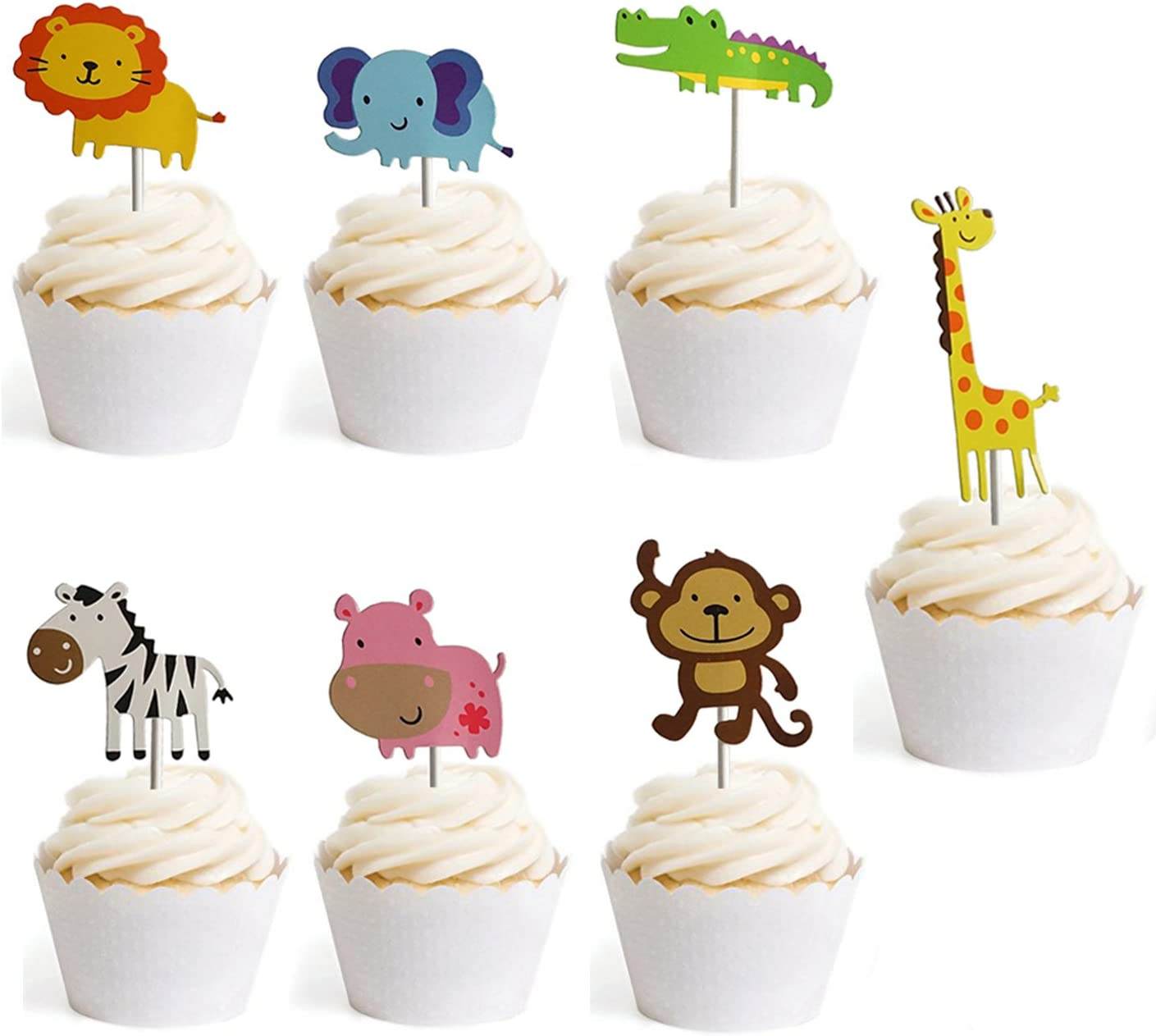Summer Party Decoration 24 Set CC HOME Jungle Animal Party Decorations,Jungle Animal Cupcake Toppers//Picks /& Forest Theme Cupcake Wrappers Wild One Birthday Decorations for Hawaiian,Luau,Tropical,Spring