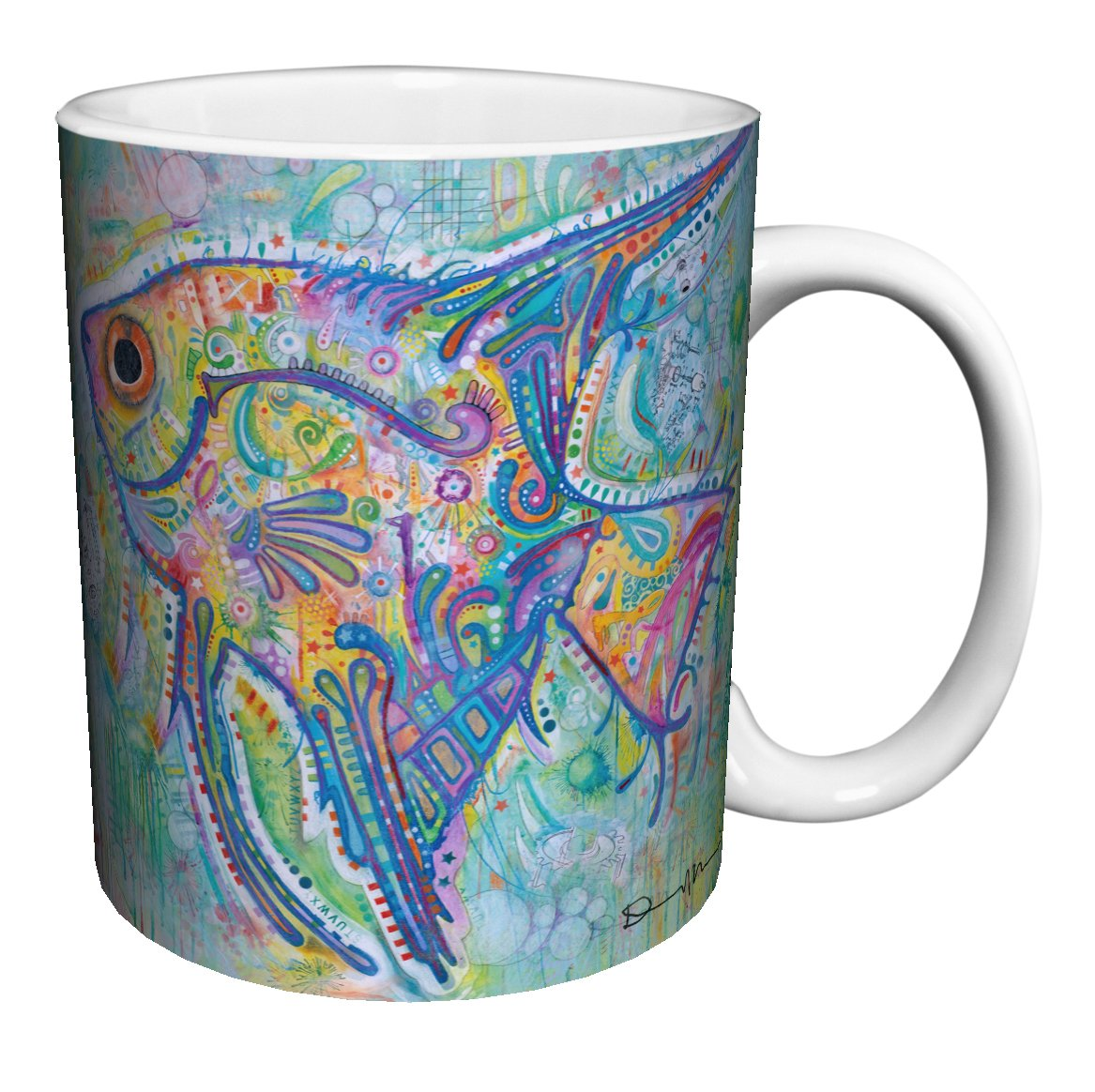 Dean Russo Fish Modern Animal Art Porcelain Gift Coffee (Tea, Cocoa) 11 Oz. Mug