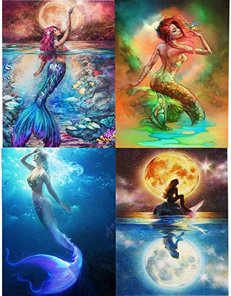DIY 5D Diamond Painting Embroidery Art Crafts Mermaid Picture for Home Decor