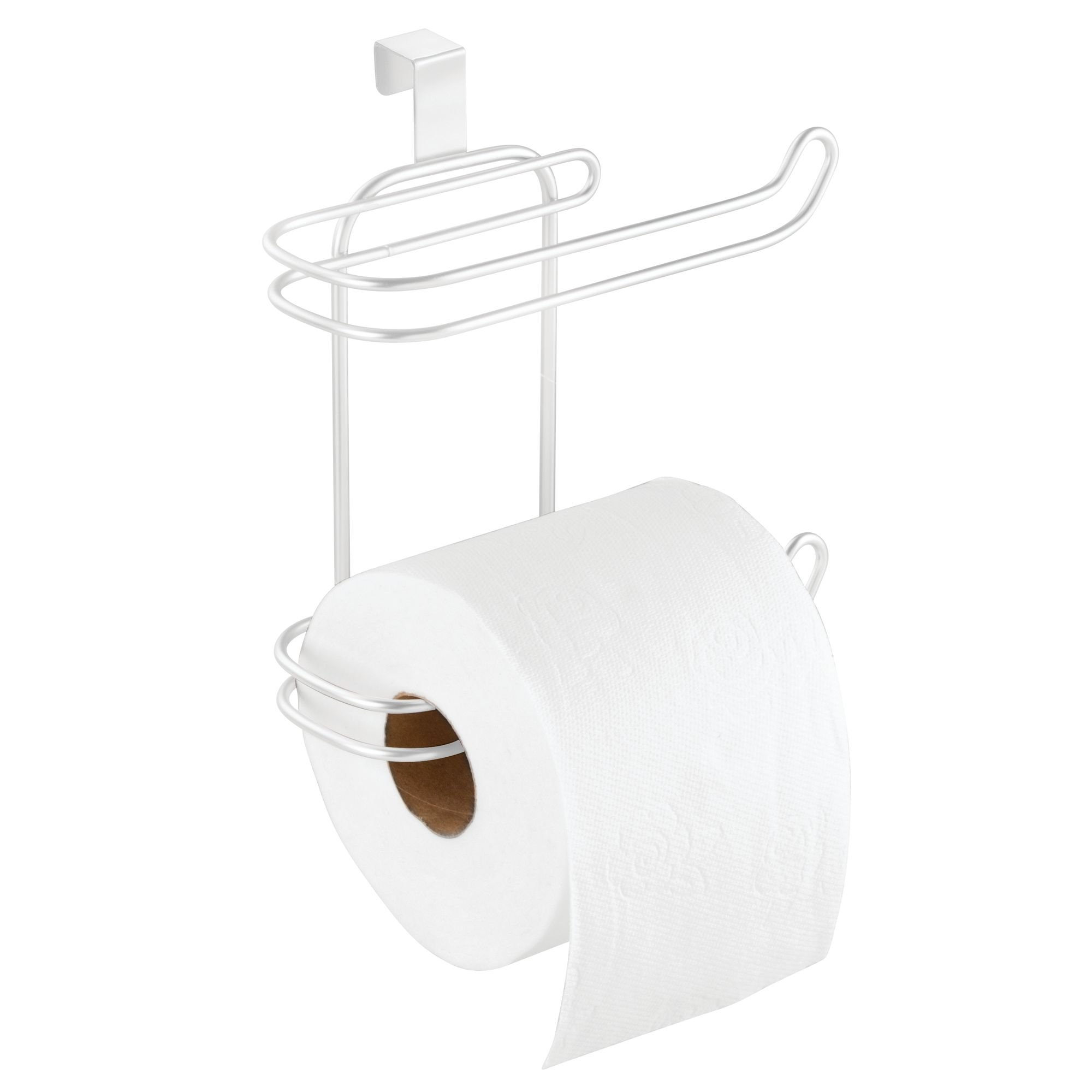 mDesign Compact Hanging Over The Tank Toilet Tissue Paper Roll Holder and Dispenser for Bathroom Storage - Holds 1 Extra Roll - Space Saving Design - Pack of 2, Durable Metal Wire in White Finish by mDesign (Image #4)