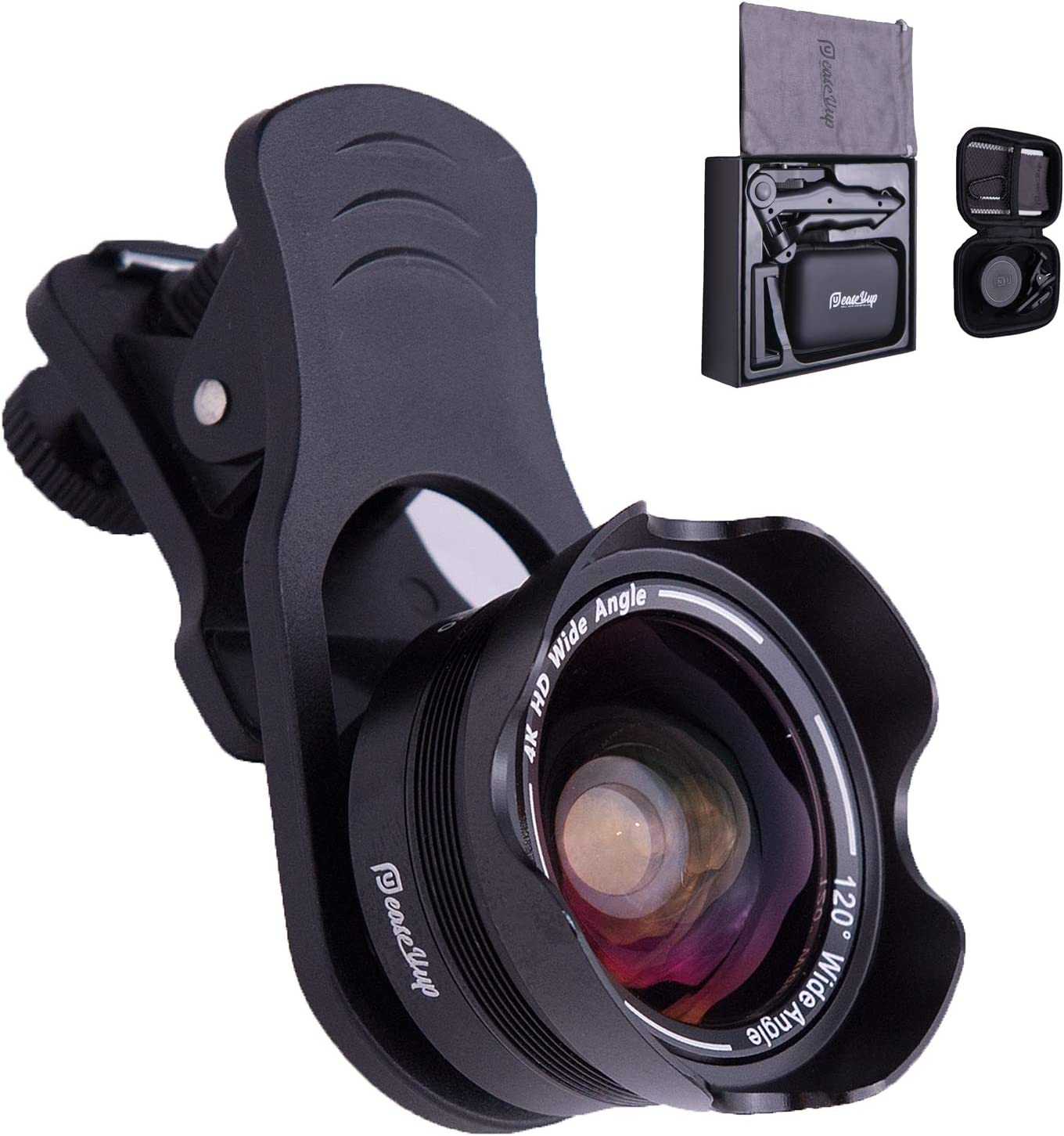 Wide Angle, Macro Lens for iPhone X XR XS Max 8 7 6S Plus-HD Cell Phone Camera Lens Kit by easeUup-Bluetooth Universal Remote, Phone Tripod Holder-All You Need in 1 Case to Go