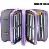 Sumnacon 72 trous Trousse/ Sac de crayon pour l'école et bureau avec Grand capacité Multi- couches (violet)
