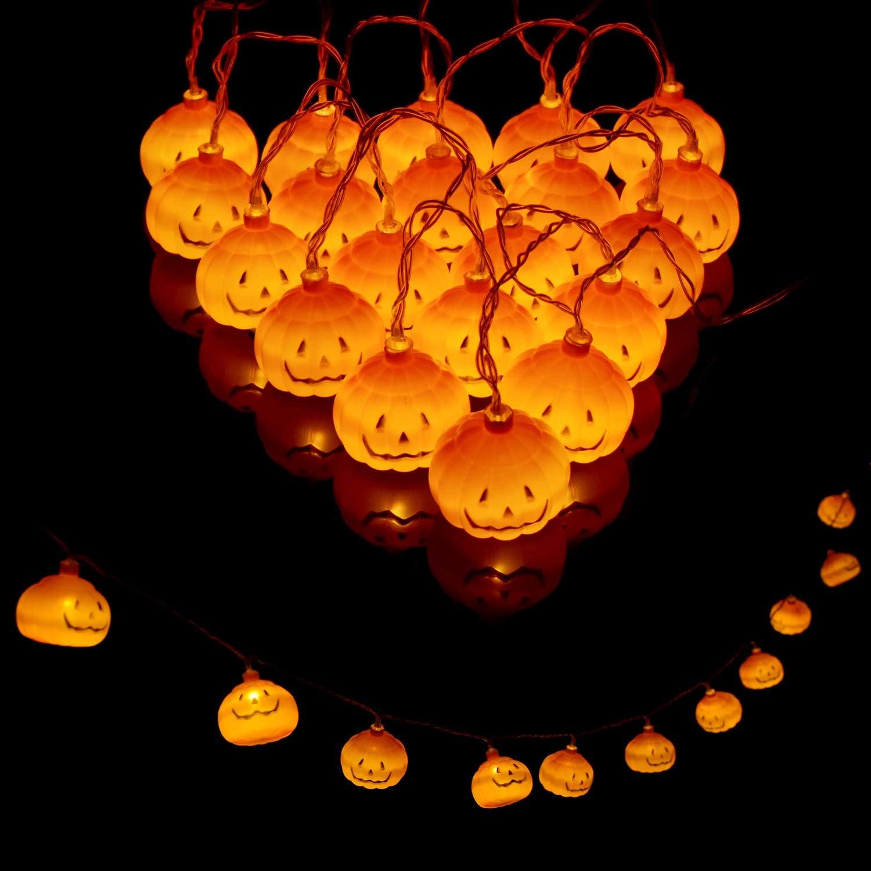 Yenghome 20LED Halloween Pumpkin String Lights Thanksgiving Decorations,2 Modes Steady/Flickering Pumpkin String Lights Decor for Indoor Outdoor Party