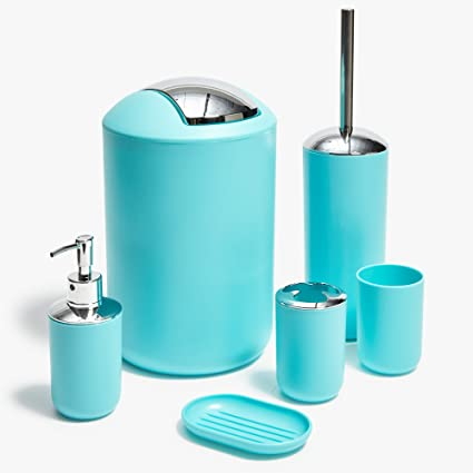 Superbe Roomify Light Blue Bathroom Accessories 6 Piece Set   Includes Trash Can,  Toothbrush Holder,