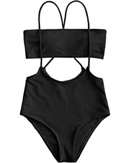 71ea996c5a816 ZAFUL Womens Two Piece Swimsuits One Shoulder Sexy Low Waist Bikini Set  Swimsuit