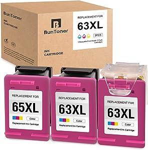 BUNTONER Remanufactured Ink Cartridges Replacement for HP 63 63XL use with HP OfficeJet 3830 4650 4655 5255 DeskJet 1110 2130 3630 Envy 4510 4511 4512 4520 (3 Tri-Color Cartridges, 1 Print Head)