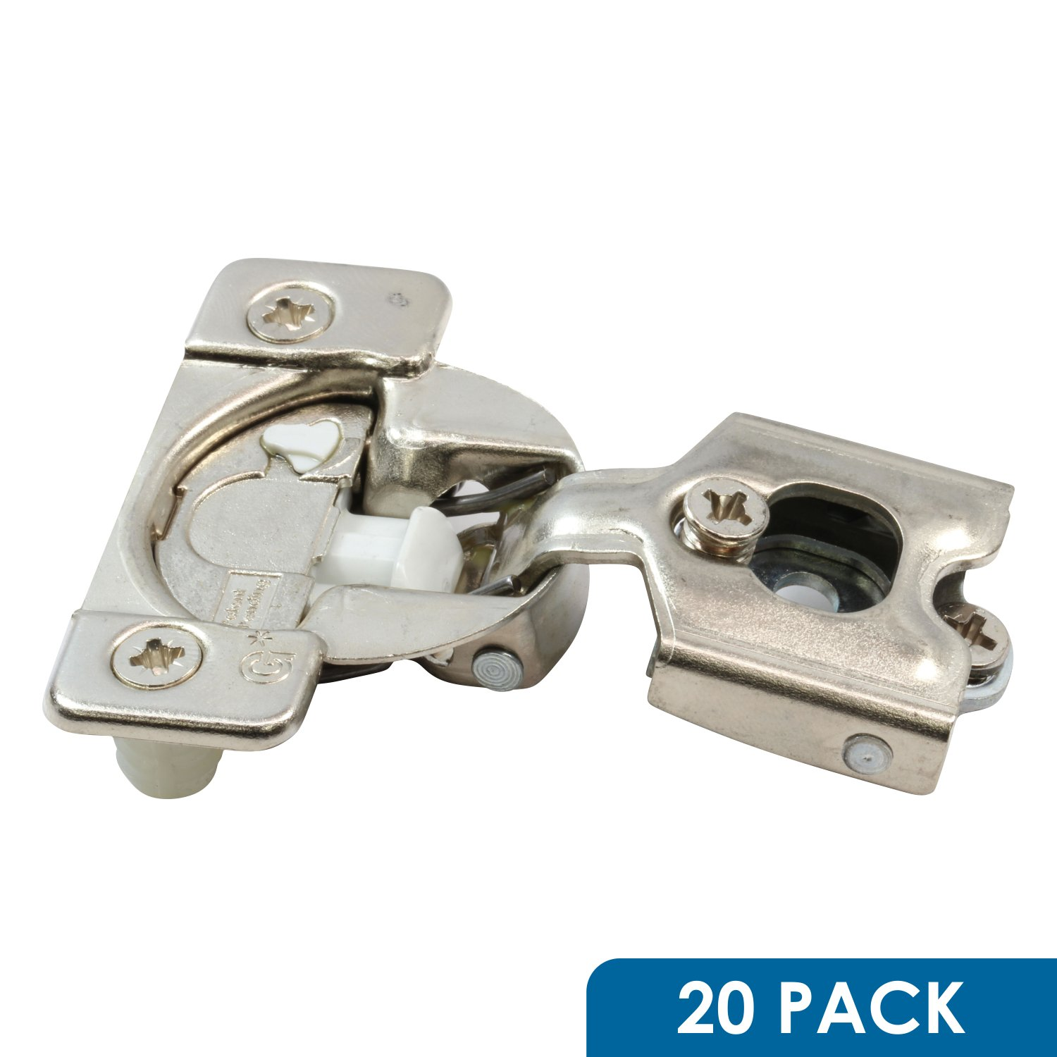 20 Pack Rok Hardware Grass TEC 108 Degree 1/2'' Overlay Soft Close Press in Compact Wrap Mount Cabinet Hinge 02824A-15 3-Way Adjustment 42mm Screw Hole Pattern