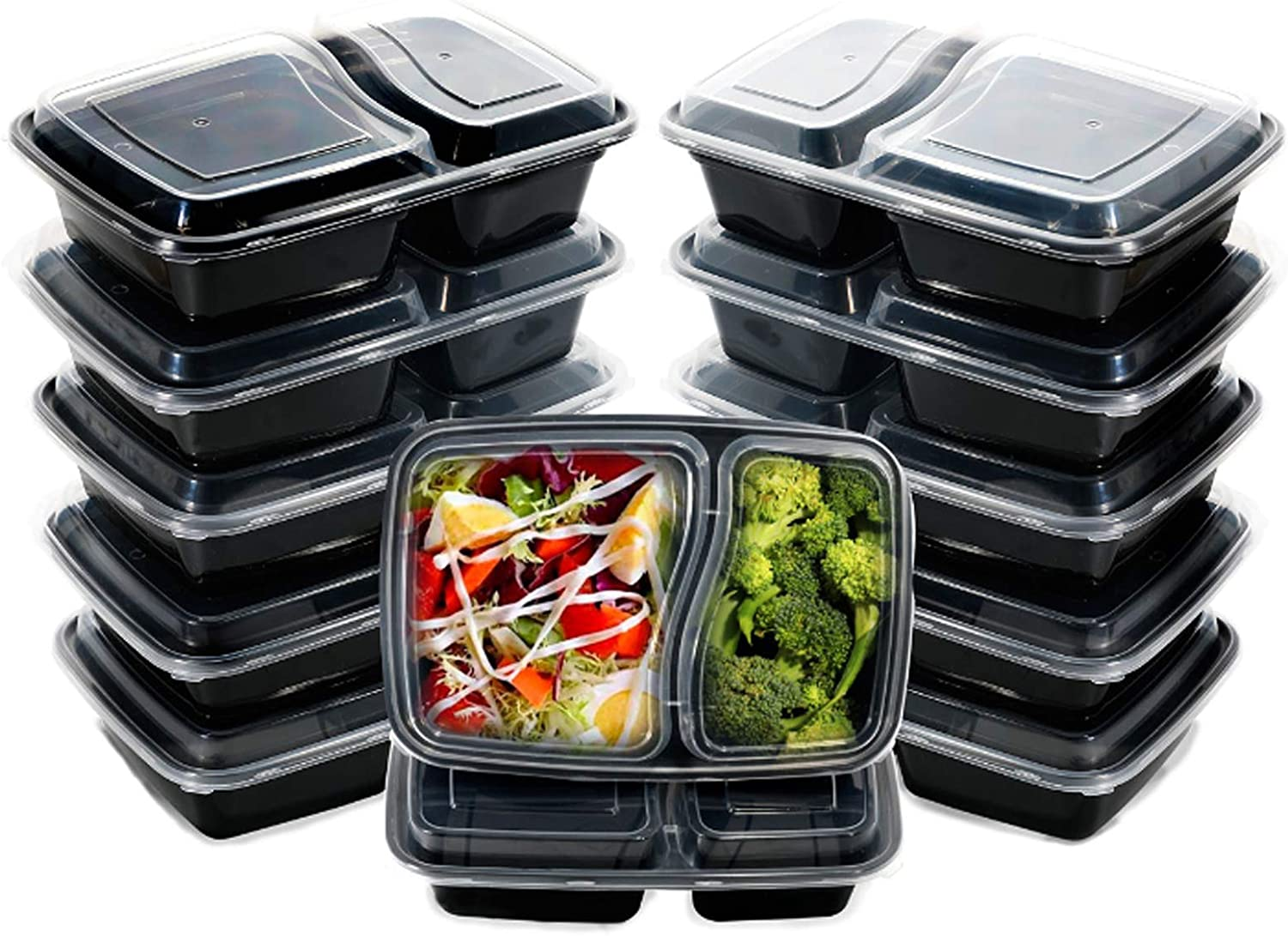I00000 60pack Meal Prep Containers with Lids, 28 oz Black Rectangular Lunch Containers, 2 Compartment Food Storage Bento Box-Microwaveable, Freezer & Dishwasher Safe