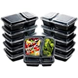 I00000 60pack Meal Prep Containers with Lids, 28 oz Black Rectangular Lunch Containers, 2 Compartment Food Storage Bento…