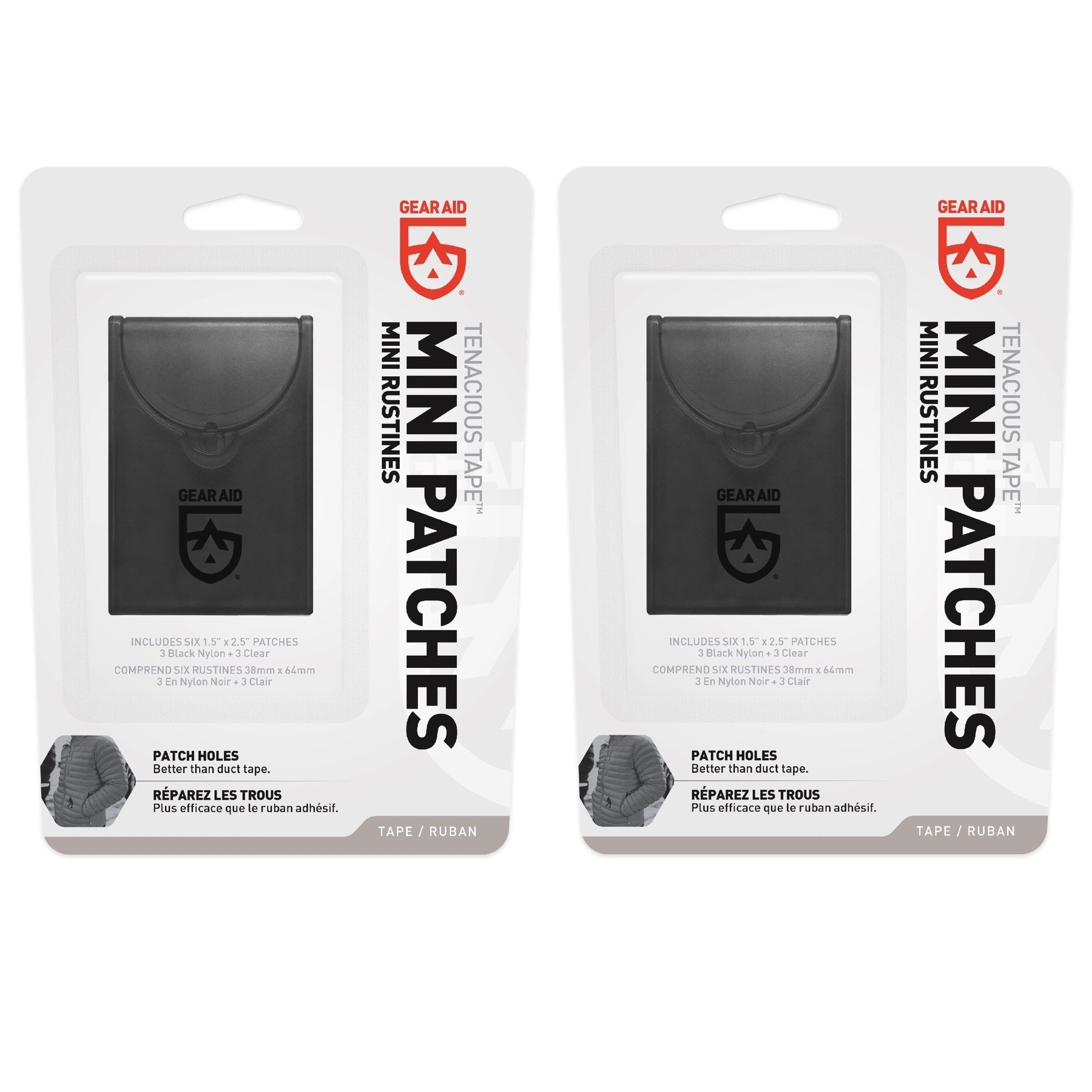 McNett Gear Aid Tenacious Tape Mini Repair Patches Black & Clear (2-Pack)