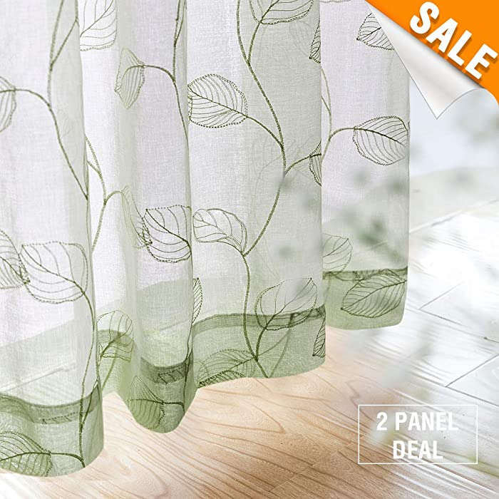 "Embroidered Sheer Curtains for Living Room Leaf Window Curtains Botanical Geometric Semi-Sheer Curtains for Bedroom 1 Pair,84"" L,Sage"