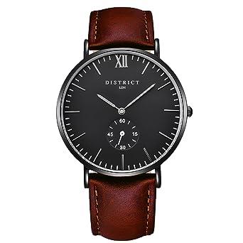 c7df2040709 District London Ashford Edition Men s Watches - Slim Brown Leather Strap  Analogue Quartz Designer Wrist Watch