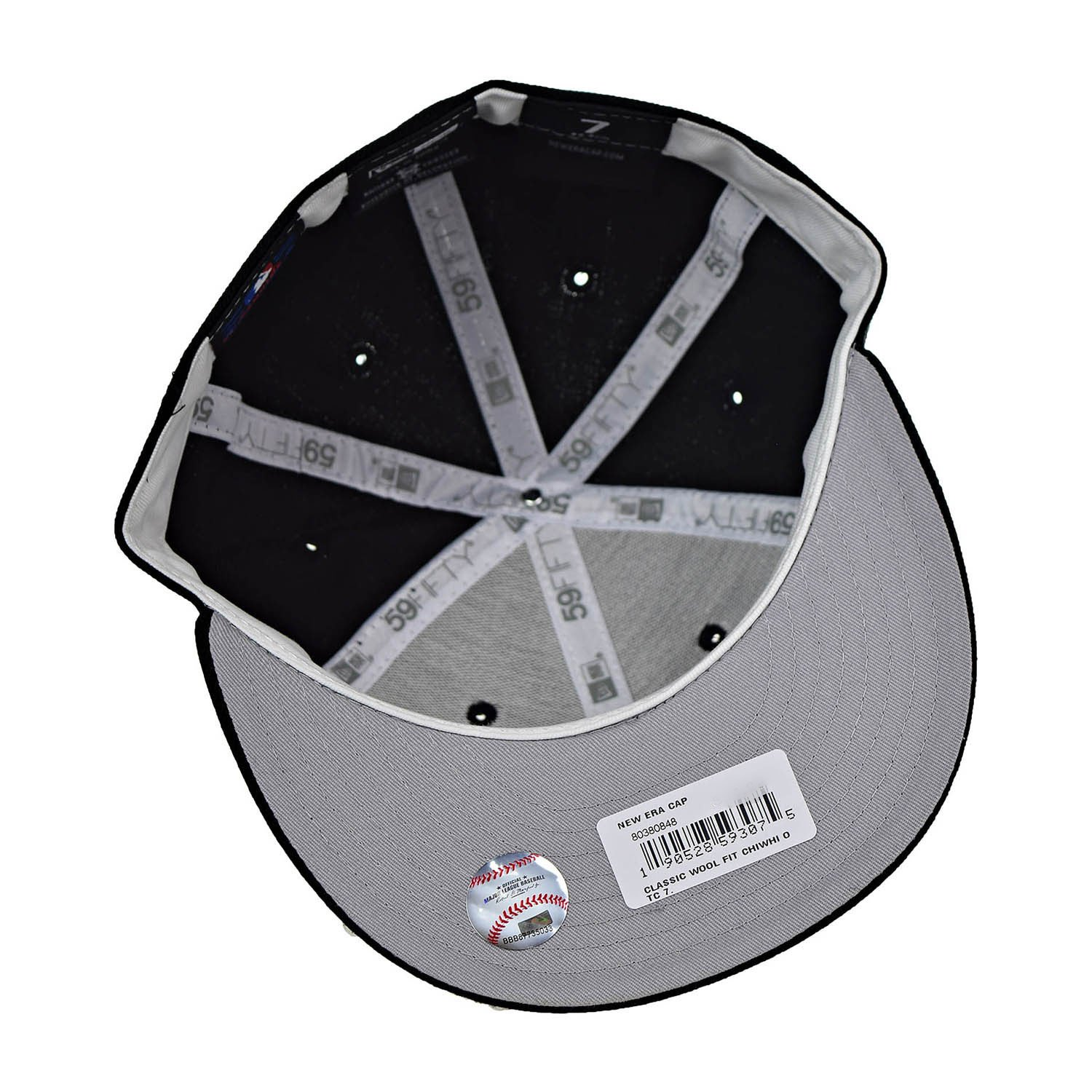 big sale 3655f 12dd1 ... official new era chicago white sox classic wool 59fifty mens fitted hat  cap black white 80380848
