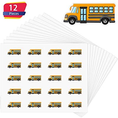 Outus School Bus Stickers Mini Yellow Bus Stickers for Scrapbooking, Calendars, Kids DIY Arts and Crafts, Album (12 Sheets): Toys & Games