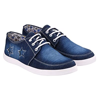 Kzaara Navy Fabric Lace-Up Shoes For