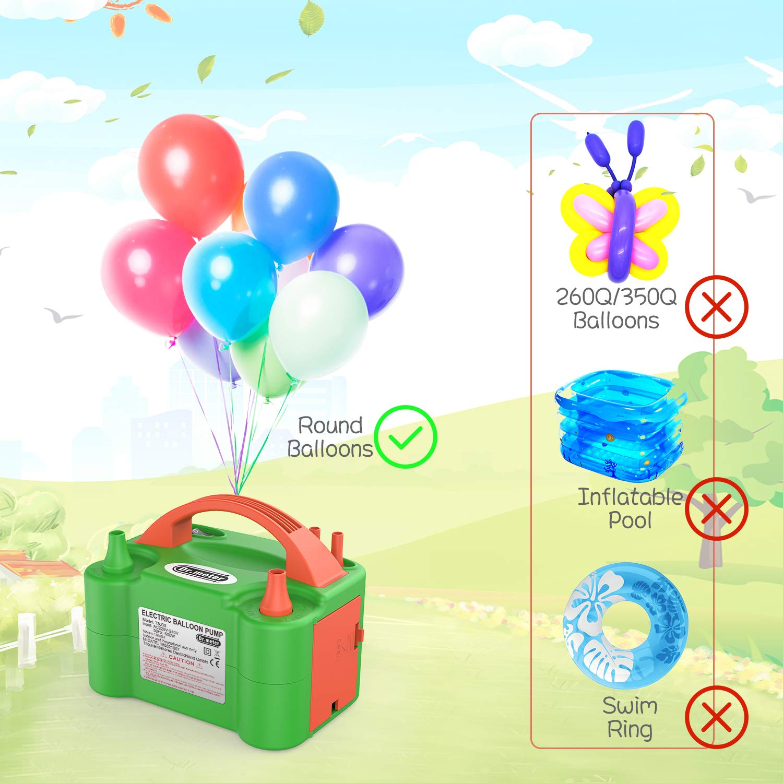 Dr.meter Bomba Eléctrica Inflar Globos, Bomba portátil de Doble Boquilla Ideal para Fiestas, Bodas, cumpleaños, Actividades promocionales y decoración de ...