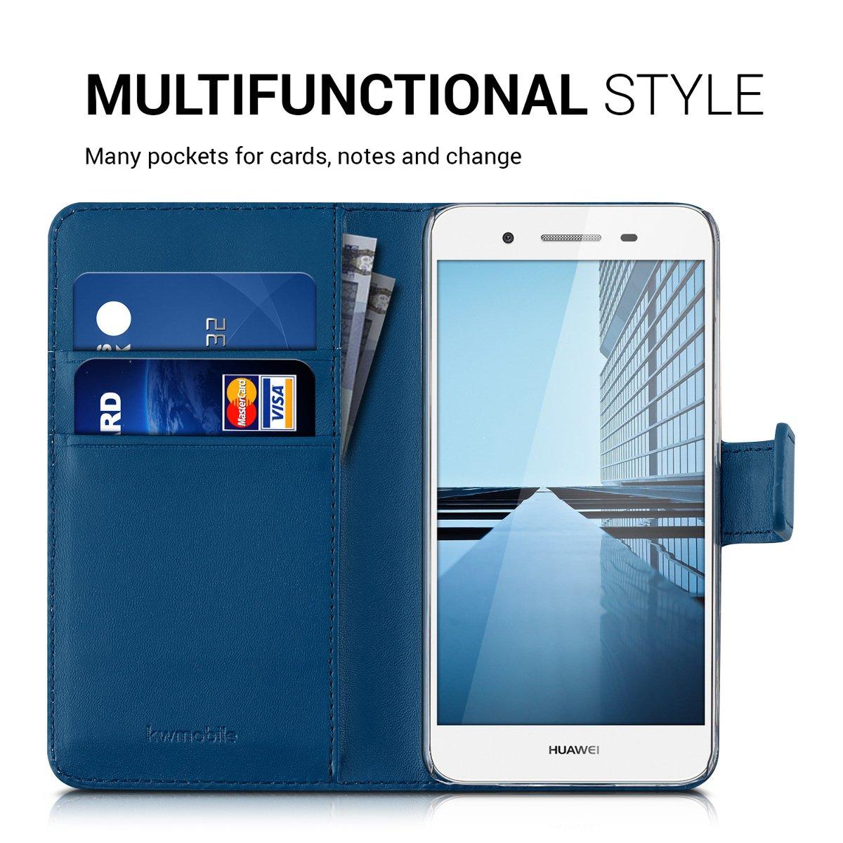 kwmobile Funda para Huawei GR3 / P8 Lite Smart - Carcasa de Cuero sintético - Case con Tapa y Tarjetero en Azul