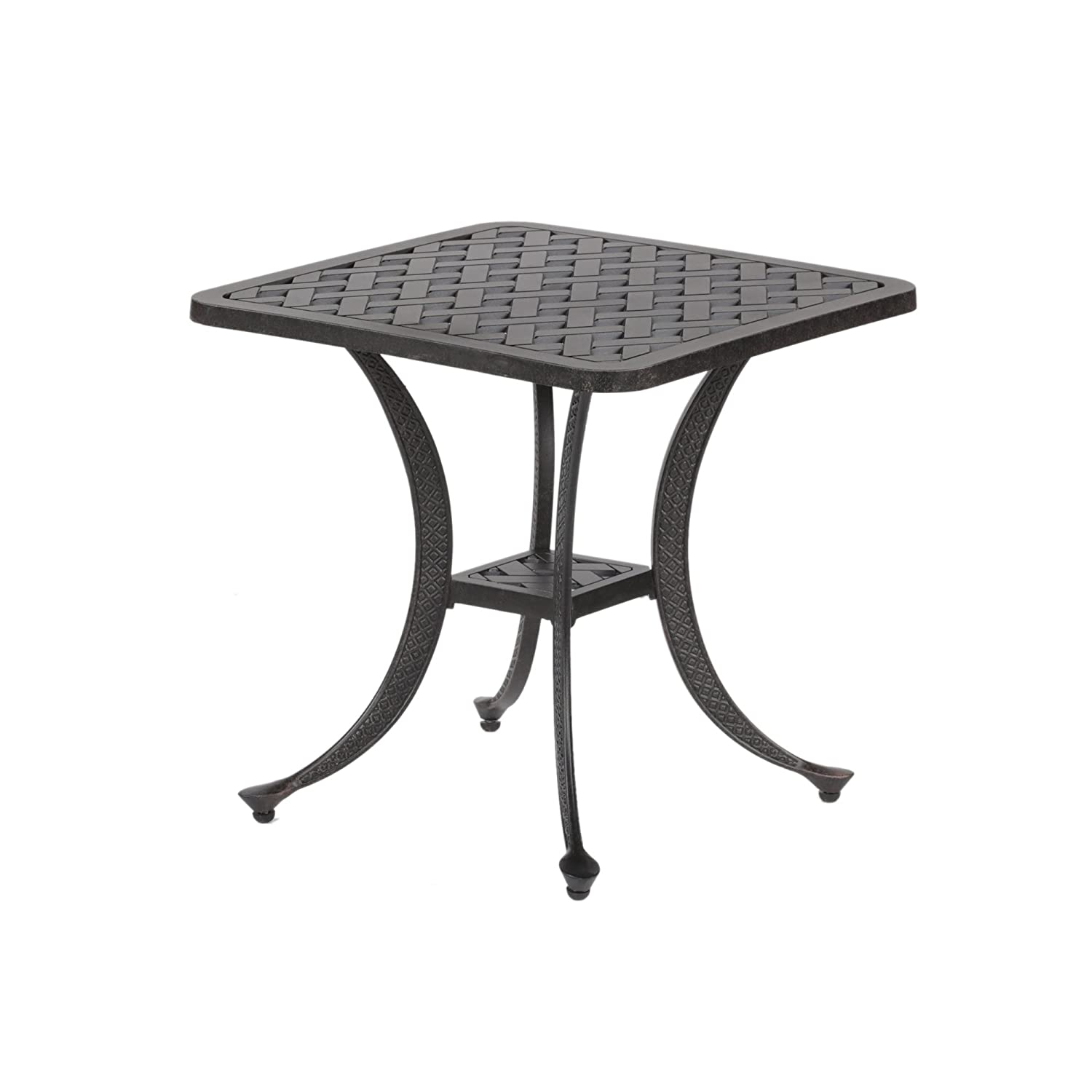 iPatio Sparta Standard Square Cast Aluminum Side Table, Outdoor End Table Rust