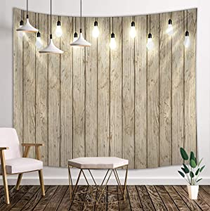 DYNH Rustic Wooden Board Tapestry, Country Barn Wood Plank, Wall Tapestries Hanging Home for Bedroom Living Room Dorm TV Backdrop, Beach Blanket, 71X60 Inches