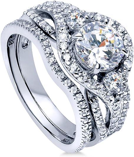 Or /& Rose-Tone Zircone Cubique 4 Ring Set QR6739 Sterling Silver Rhodium /& Noir-Plaque