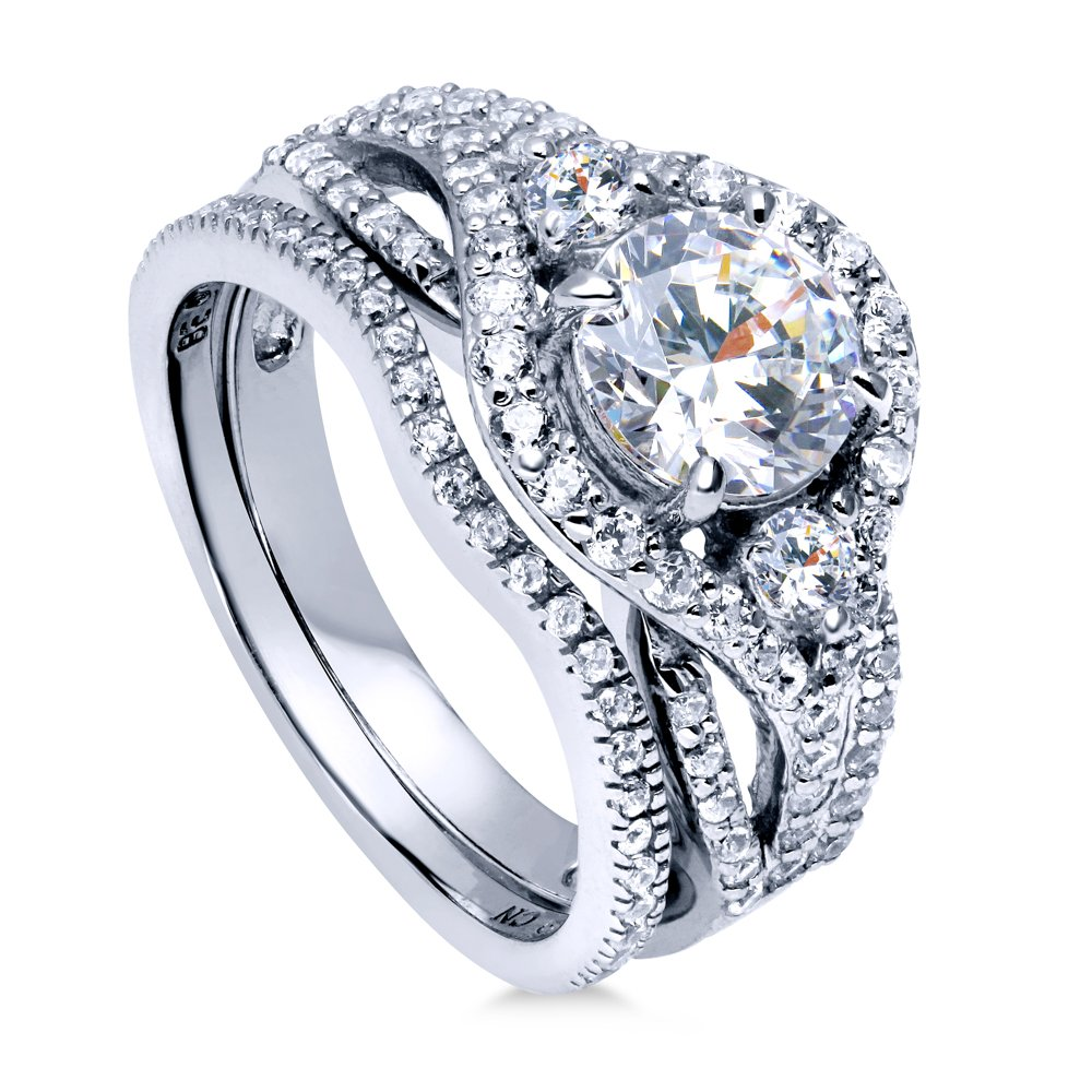 BERRICLE Rhodium Plated Silver Cubic Zirconia CZ Halo 3-Stone Engagement Ring Set 2.22 CTW Size 6