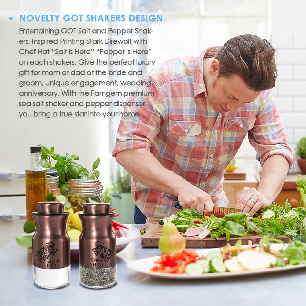 Salt and Pepper Shakers Famgem - GOT Stainless Steel Set with 3 Adjustable Pours by Famgem (Image #8)
